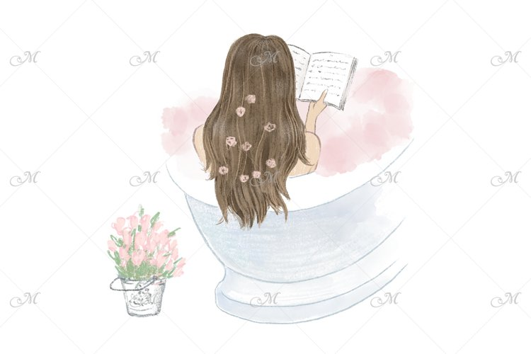 Girl W/Diary in a Bathtub Illustration