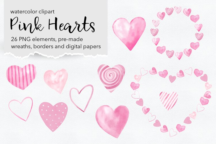 Pink Hearts Watercolor Illustration PNG files