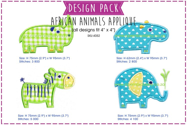 African Animal Applique Embroidery Design Pack