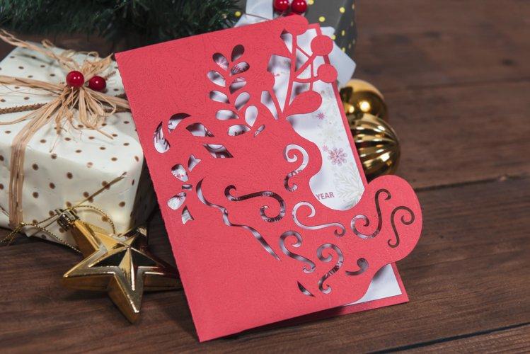 Santas Boot Christmas Invitation cutting file example image 1