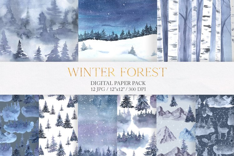 Watercolor Winter Forest Digital Papers example image 1