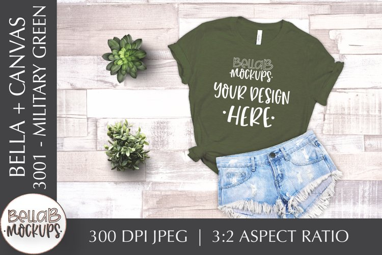 Bella Canvas 3001 Woman's T Shirt Mockup, Military Green example image 1