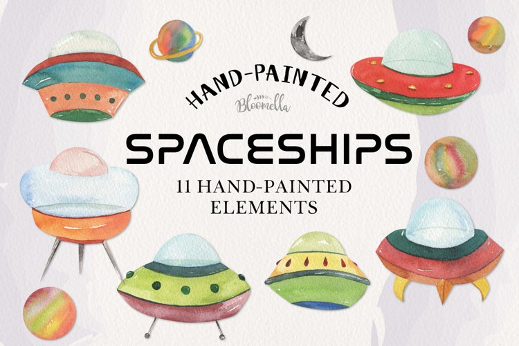 Spaceship Watercolor 11 Elements Space Planets Galaxy example image 1