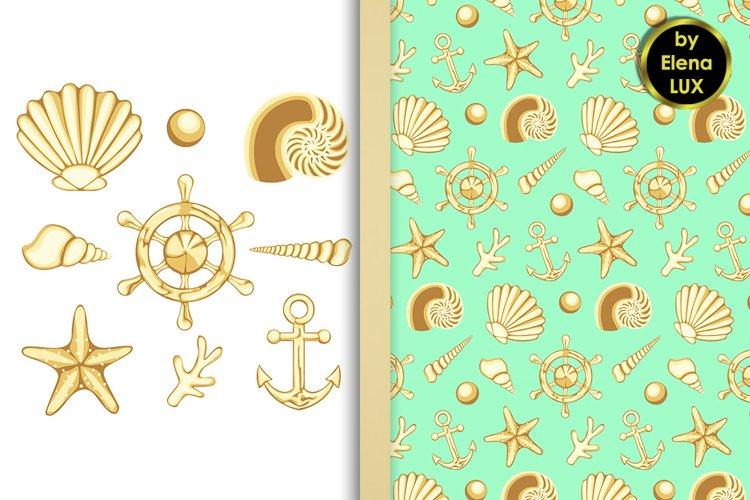 Sea set and seamless pattern