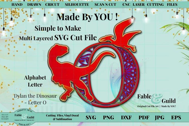 Dinosaur 3D Layered Cake Topper Alphabet Letter O SVG T-Rex