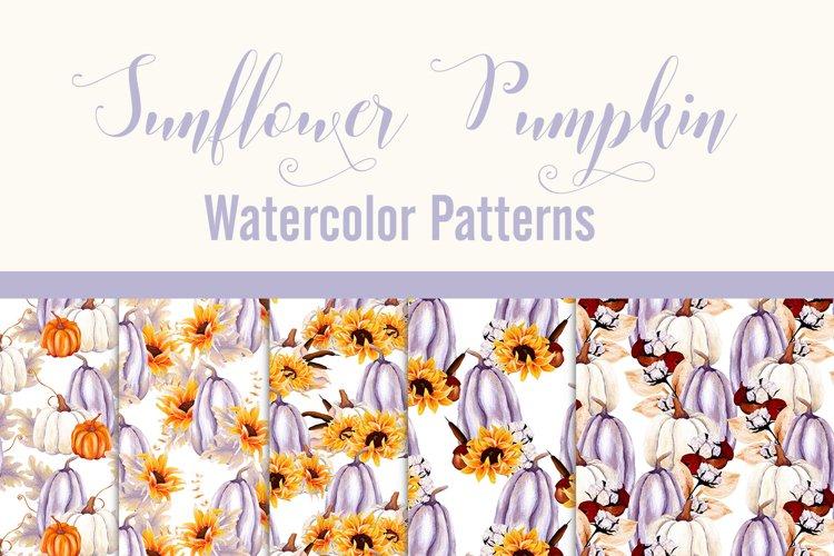 Sunflower Pumpkin - Watercolor Patterns