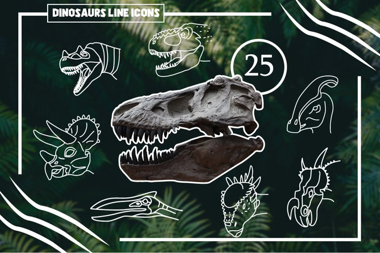25 Dinosaur Hand Drawn Icons, Logos example