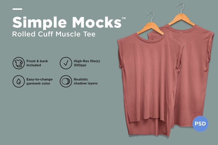 Rolled Cuff Muscle Tee Mockup example image 1