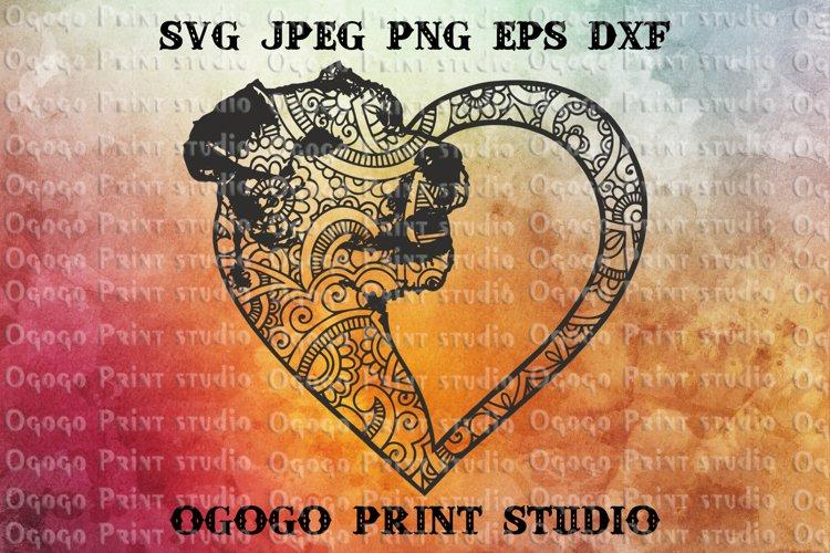 Terrier Svg, Heart SVG, Dog SVG, Zentangle Svg, Mandala svg