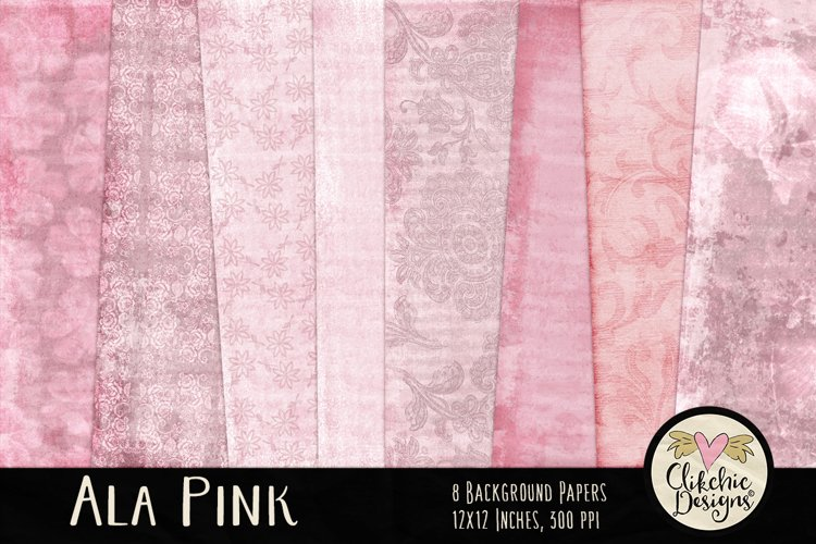 Shabby Pink Scrapbook Papers - Ala Pink Background Papers example image 1