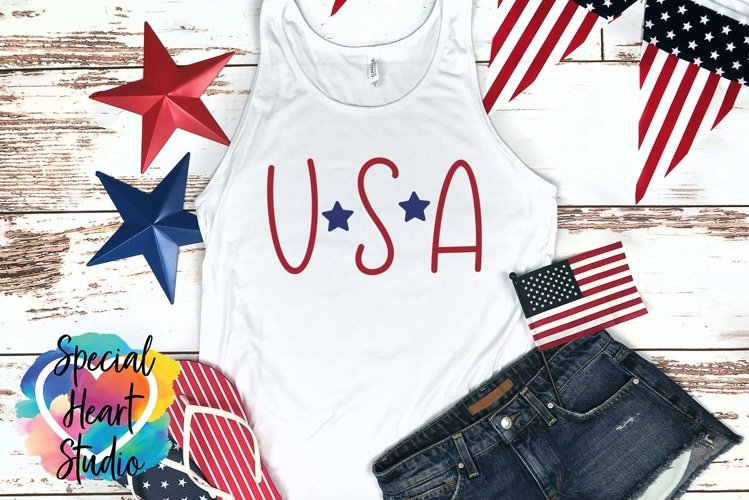USA - A hand lettered patriotic SVG example image 1