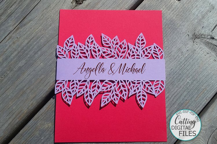 Leaves Belly band wrap Wedding Invitation svg dxf laser cut example image 1