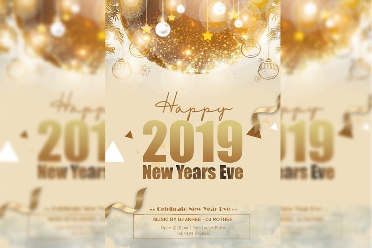 Gold New Year Flyer example image 1