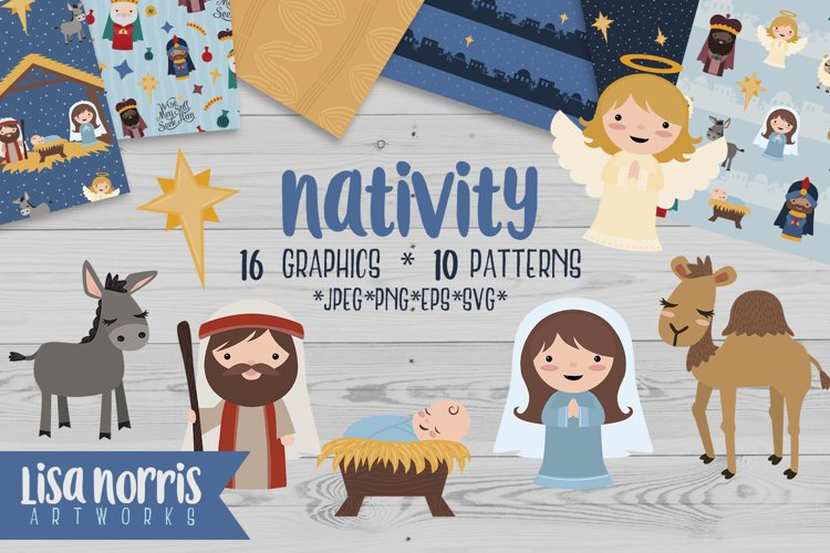 Nativity Clip Art, Patterns, & SVG Cutting Files