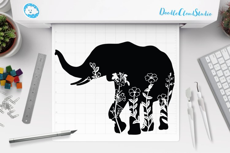 Floral Elephant SVG Cut Files. Floral Elephant Clipart. example image 1
