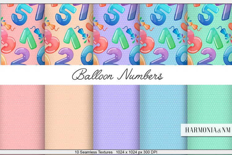 Balloon Numbers 10 Seamless Textures example image 1