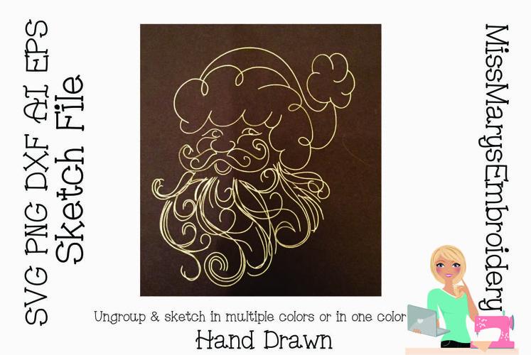 Sketch Santa| Foil Quill SVG | Sketch File SVG | Christmas