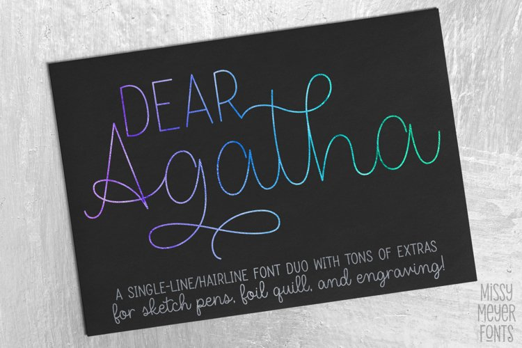 Dear Agatha - a single-line hairline pen & quill font duo! example image 1
