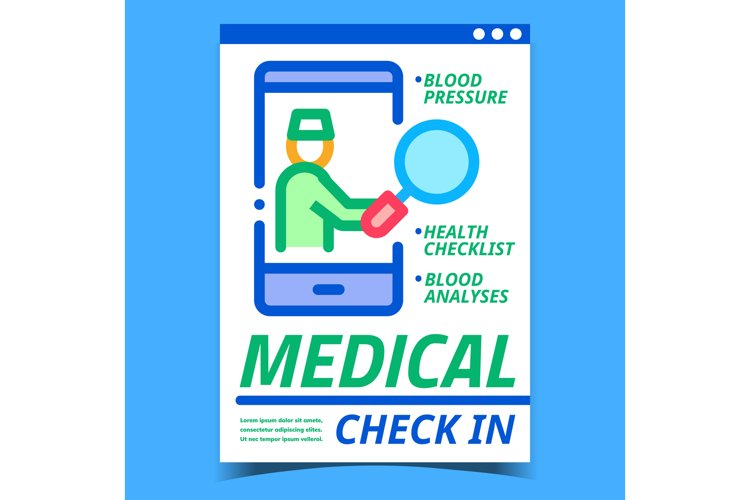 Medical Check In Creative Promotion Banner Vector