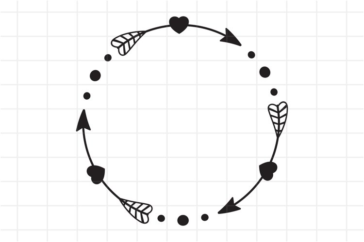 Circle Arrow Svg, Arrow monogram frame cut file. example image 1