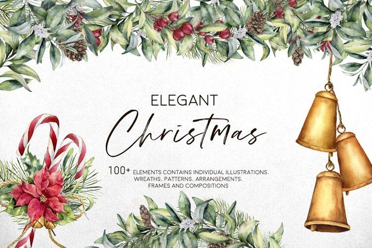 Elegant Christmas. Watercolor winter holidays bundle