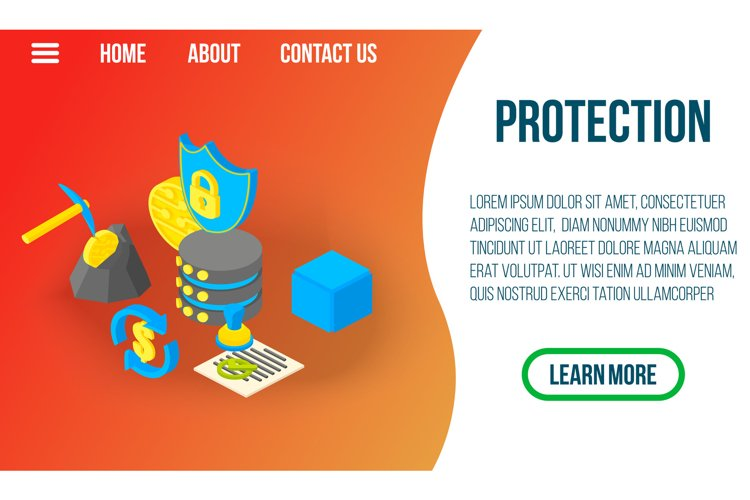 Protection concept banner, isometric style example image 1