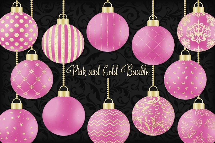 Pink and Gold Christmas Bauble