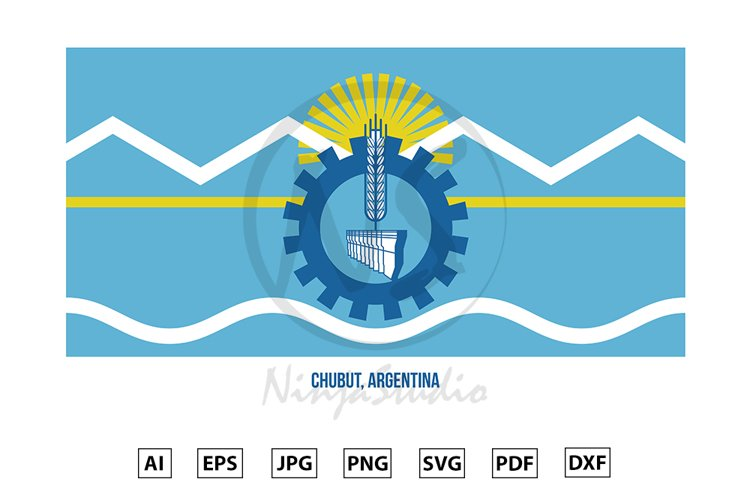 Chubut Flag Vector Illustration. Flag of Argentina Provinces example image 1