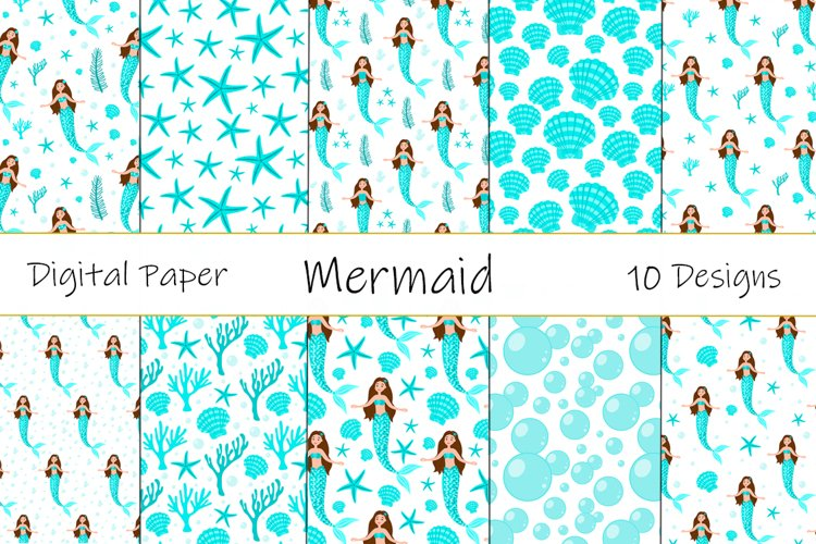 Collection Seamless Patterns Mermaid Vector Illustration example image 1
