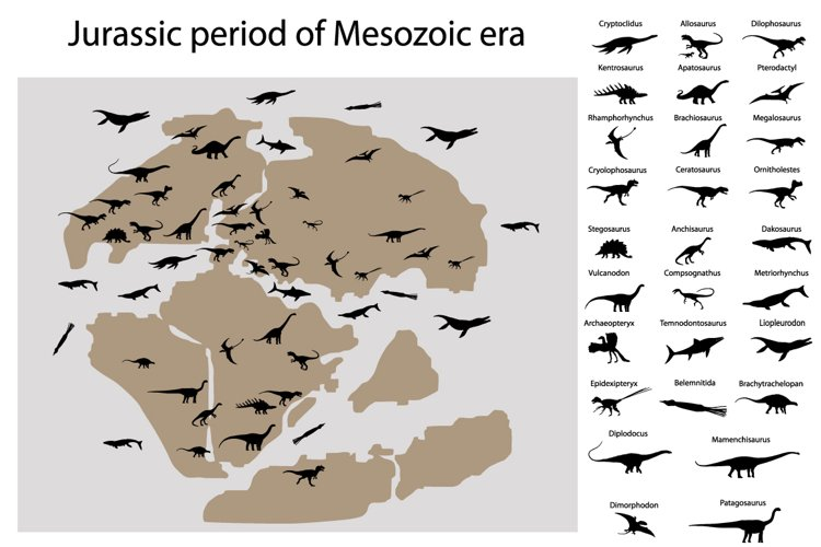 Dinosaurs of jurassic period on map example image 1