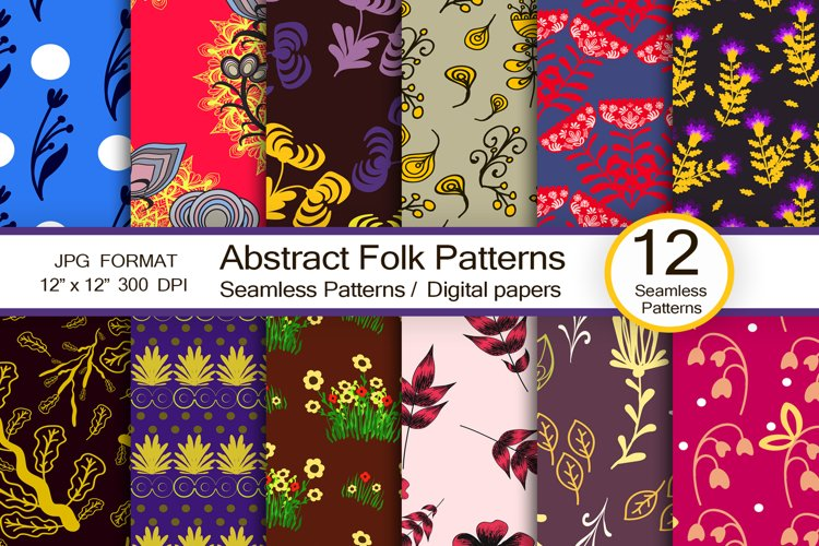 Abstract folk patterns, scrapbook paper example image 1
