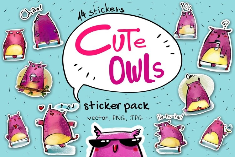 Cute Owls - sticker pack example image 1