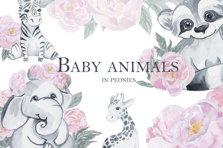 Baby animals in peonies example image 1
