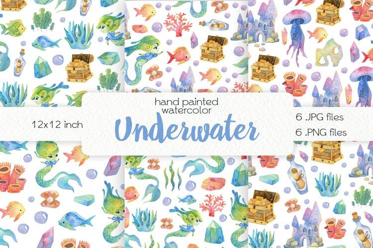 Watercolor Cute Mermaids. Seamless Patterns example image 1