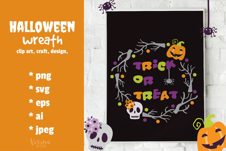 Halloween wreath svg. Halloween Digital clipart example image 1