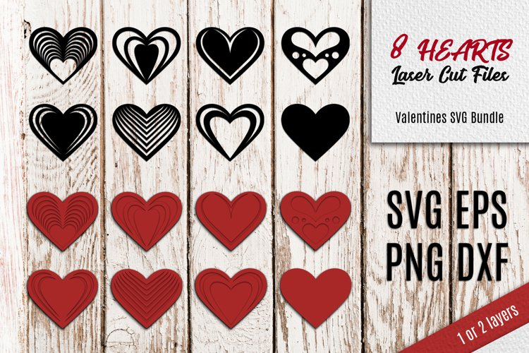 8 Hearts Laser Cut Files   Valentines SVG example image 1