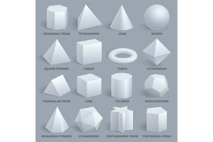 Realistic white basic 3d shapes vector set