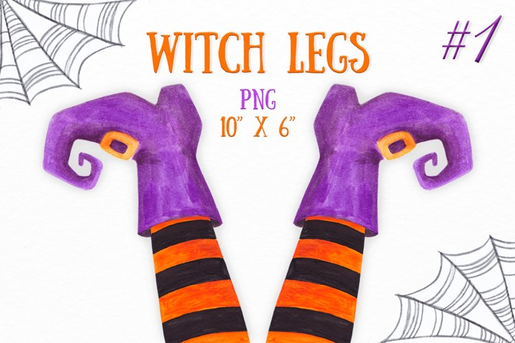 Watercolor Witch legs clipart Halloween party decoration example image 1