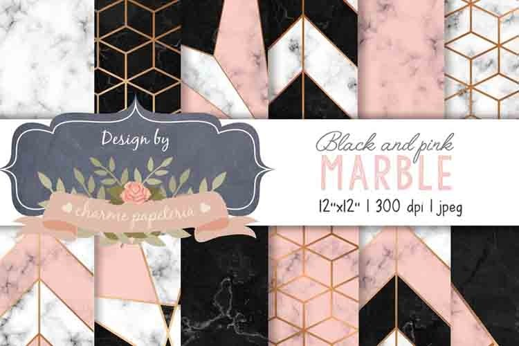 Black and Pink Marble Geometric Gold Digital Paper, Marble example image 1