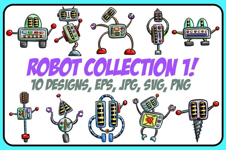 Crazy Robots 1! Cartoon Collection PNG, JPG, ESP, SVG example image 1