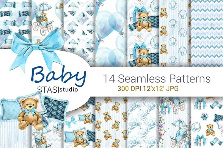 Baby Boy Paper Pack Blue Seamless Pattern New Baby Cute Set example image 1