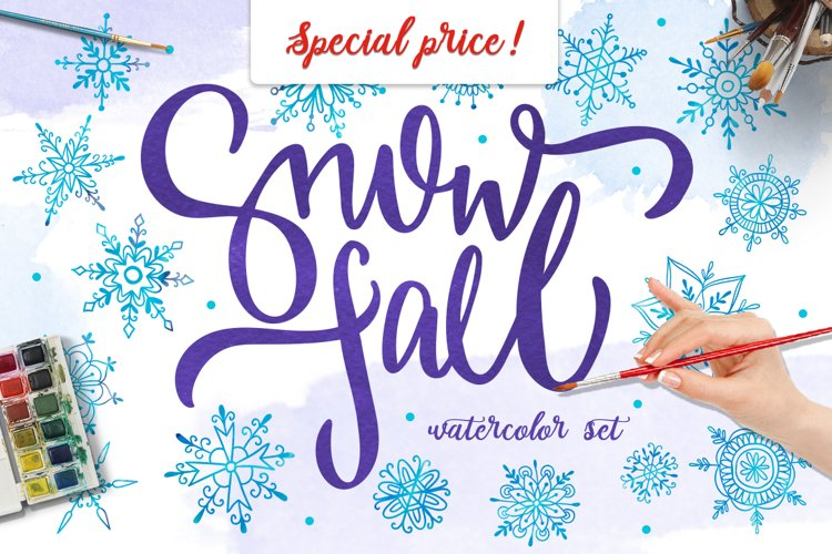 Watercolor snowflakes example image 1