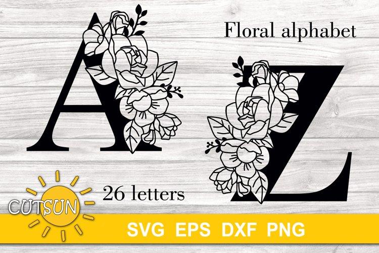 Floral Alphabet SVG 26 letters   Monogram SVG  2 