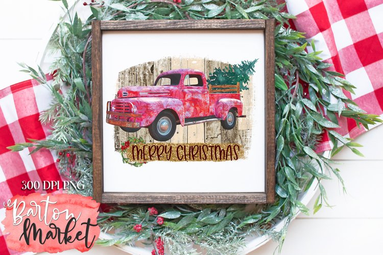 Merry Christmas Farmers Truck for Sublimation