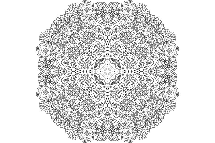 Pretty geometric floral designs on white example image 1