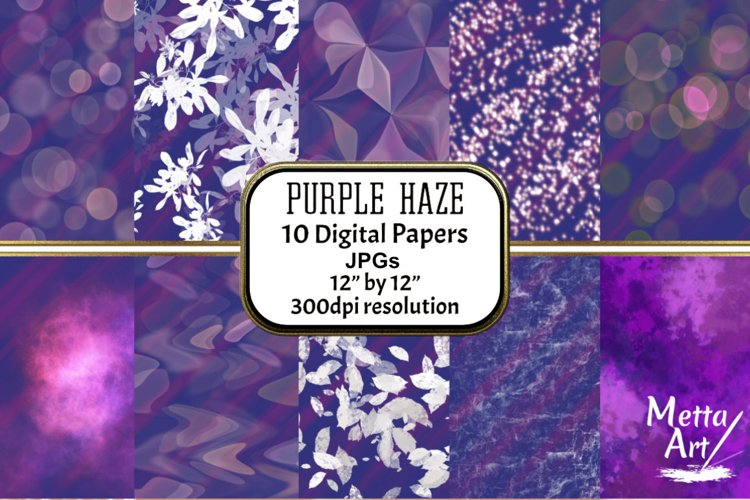 Purple Haze - 10 Digital Papers/Backgrounds example image 1