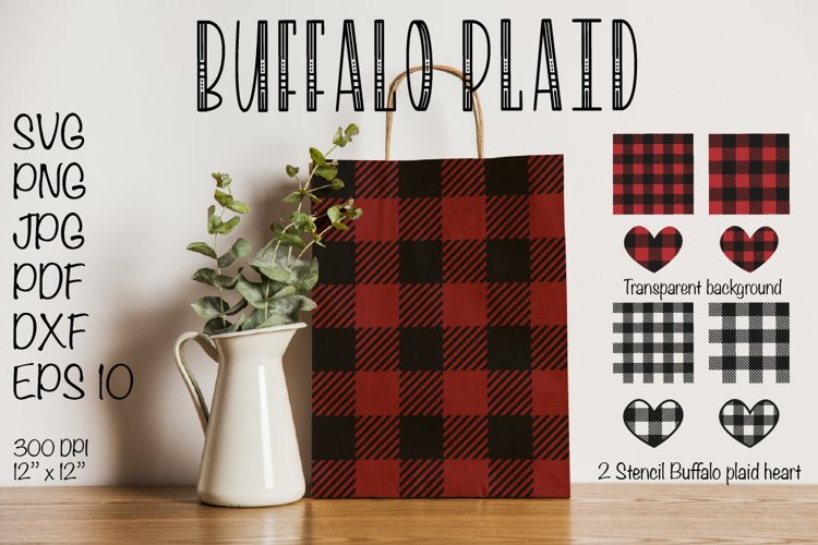 Buffalo Plaid SVG, Buffalo Plaid Heart SVG Valentines SVG example image 1