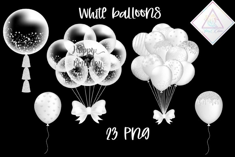 White Balloons Clipart example image 1