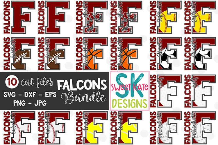 F Falcons Bundle - 10 - SVG DXF EPS PNG JPG example image 1