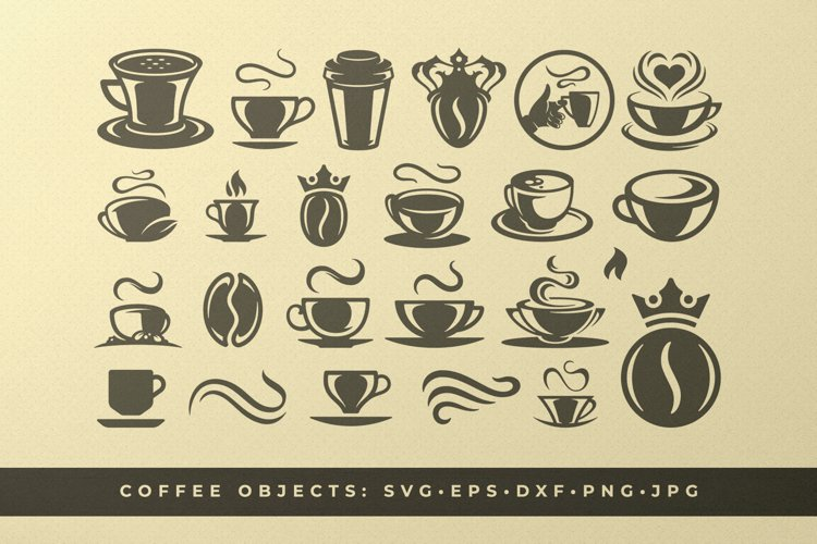 Coffee beans and cups silhouettes and icons bundle example image 1